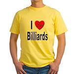 I Love Billiards Yellow T-Shirt