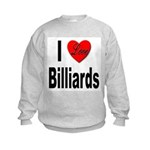 I Love Billiards (Front) Kids Sweatshirt