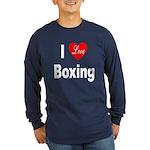 I Love Boxing (Front) Long Sleeve Dark T-Shirt