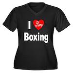 I Love Boxing (Front) Women's Plus Size V-Neck Dar