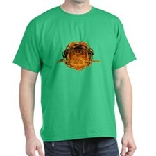 Firefighter with Round Flame T-Shirt