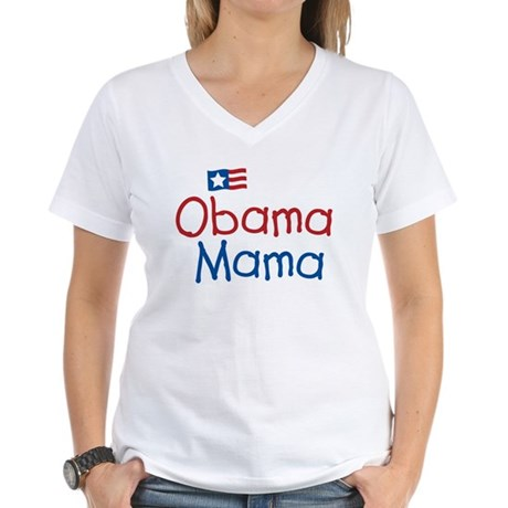 Obama Mama Women's V-Neck T-Shirt