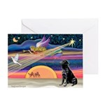 Xmas Star & Black Lab Greeting Card