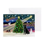 Xmas Magic/Black Lab Greeting Card