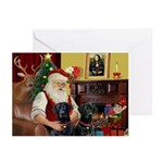 Santa's 2 Black Labs Greeting Cards (Pk of 10)