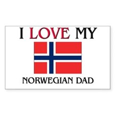 I Love My Norwegian Dad Rectangle Decal