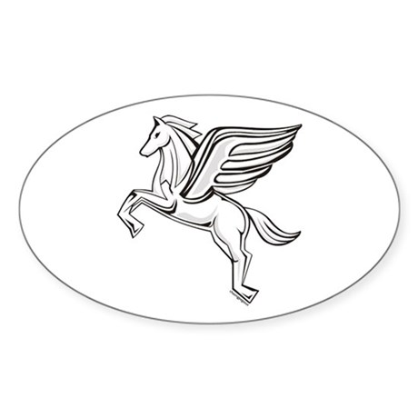 Chasing Pegasus Oval Sticker