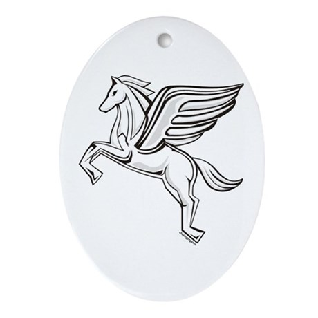 Chasing Pegasus Oval Ornament