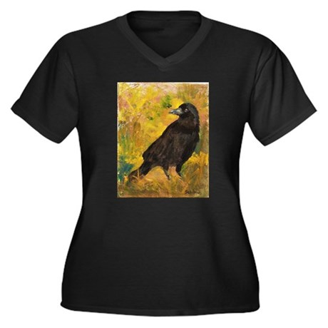 Wheat Field Women's Plus Size V-Neck Dark T-Shirt