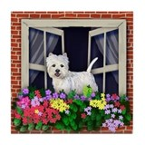 WEST HIGHLAND TERRIER DOG WINDOW Tile Coaster