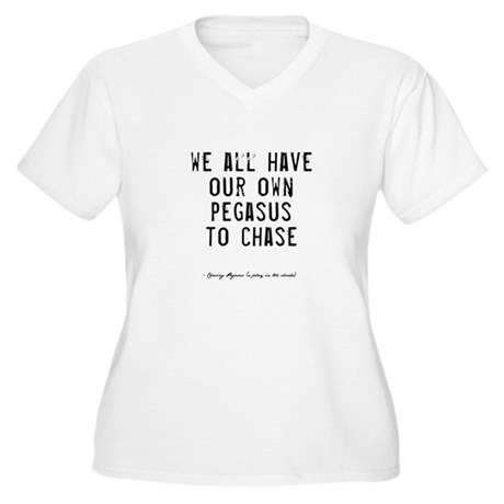 Pegasus Quote Women's Plus Size V-Neck T-Shirt