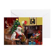 Santa's 2 Doxies (R+B) Greeting Cards (Pk of 10)