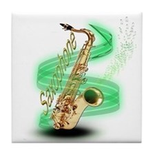 Saxophone Wrap Tile Coaster