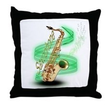Saxophone Wrap Throw Pillow