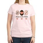 Peace Love Twirl Baton Twirling Pink T Shirt