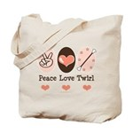 Peace Love Twirl Baton Twirling Tote Bag