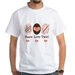 Peace Love Twirl Baton Twirling White T-Shirt
