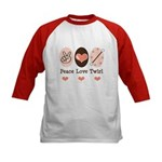 Peace Love Baton Twirling Kids Baseball Jersey