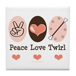Peace Love Twirl Baton Twirling Tile Coaster
