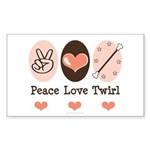 Peace Love Twirl Baton Twirling Sticker (Rectangle