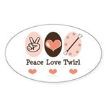 Peace Love Twirl Baton Twirling Oval Sticker