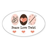 Peace Love Twirl Baton Twirling Sticker (Oval 50 p