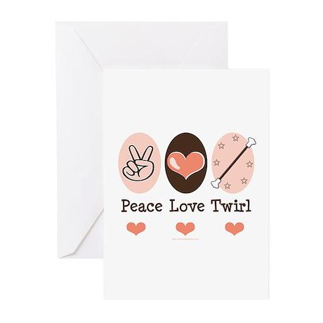 Peace Love Twirl Baton Twirling Blank Cards 10 Pk