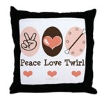 Peace Love Twirl Baton Twirling Throw Pillow