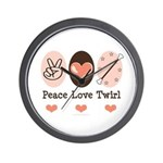 Peace Love Twirl Baton Twirling Wall Clock