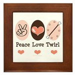 Peace Love Twirl Baton Twirling Framed Tile
