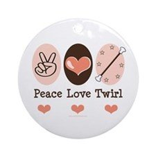 Peace Love Twirl Baton Twirling Ornament (Round)