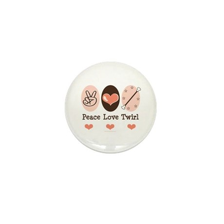 Peace Love Twirl Baton Twirling Mini Button (10 pa