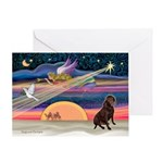 Xmas Star & Lab (choc) Greeting Card
