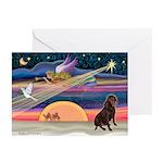 Xmas Star/Lab (choc) Greeting Cards (Pk of 20)