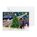 XmasMagic/Chocolate Lab Greeting Cards (Pk of 10)