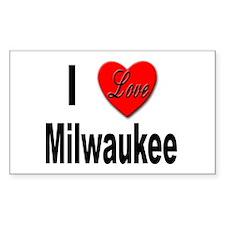I Love Milwaukee Wisconsin Rectangle Decal