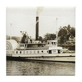 NH Lake Winnepesaukee Steam History Tile Coaster