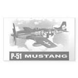 P-51 Mustang Rectangle Sticker 10 pk)