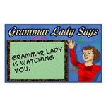 Grammar Lady is Watching You Rectangle Sticker