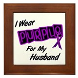 I Wear Purple For My Husband 8 Framed Tile