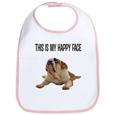 Happy Face Bulldog Bib