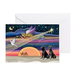 Xmas Star & black Lab (pr) Greeting Card