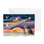 Xmas Star/2 Labs (Y+B) Greeting Cards (Pk of 20)