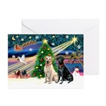 Xmas Magic/2 Labs (Y+B) Greeting Cards (Pk of 10)