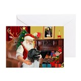 Santa's Newfie (L) Greeting Cards (Pk of 10)