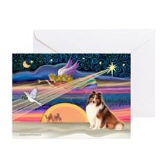 Xmas Star/Sheltie (#7) Greeting Cards (Pk of 20)