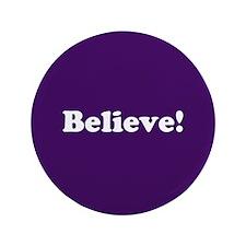 """Believe, Purple 3.5"""" Button"""