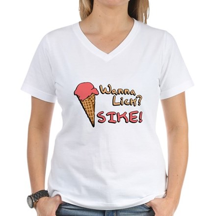 Wanna Lick? Womens V-Neck T-Shirt