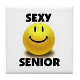 SEXY SENIOR Tile Coaster