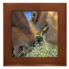 Two Brown Horses Chow Down Framed Tile